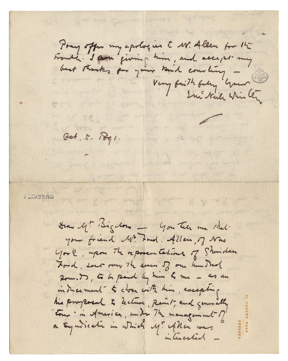 James McNeill Whistler (153) letter to Charles Bowen Bigelow, October 5, 1891