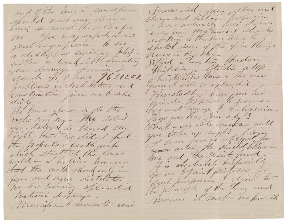 Frederic Edwin Church letter to Martin Johnson Heade, October 24, 1870 (page 45)