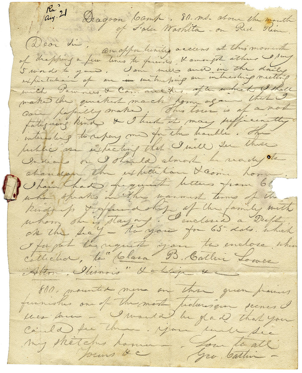 George Catlin (42), Letter to D.S. Gregory, July 19-August 21, 1834