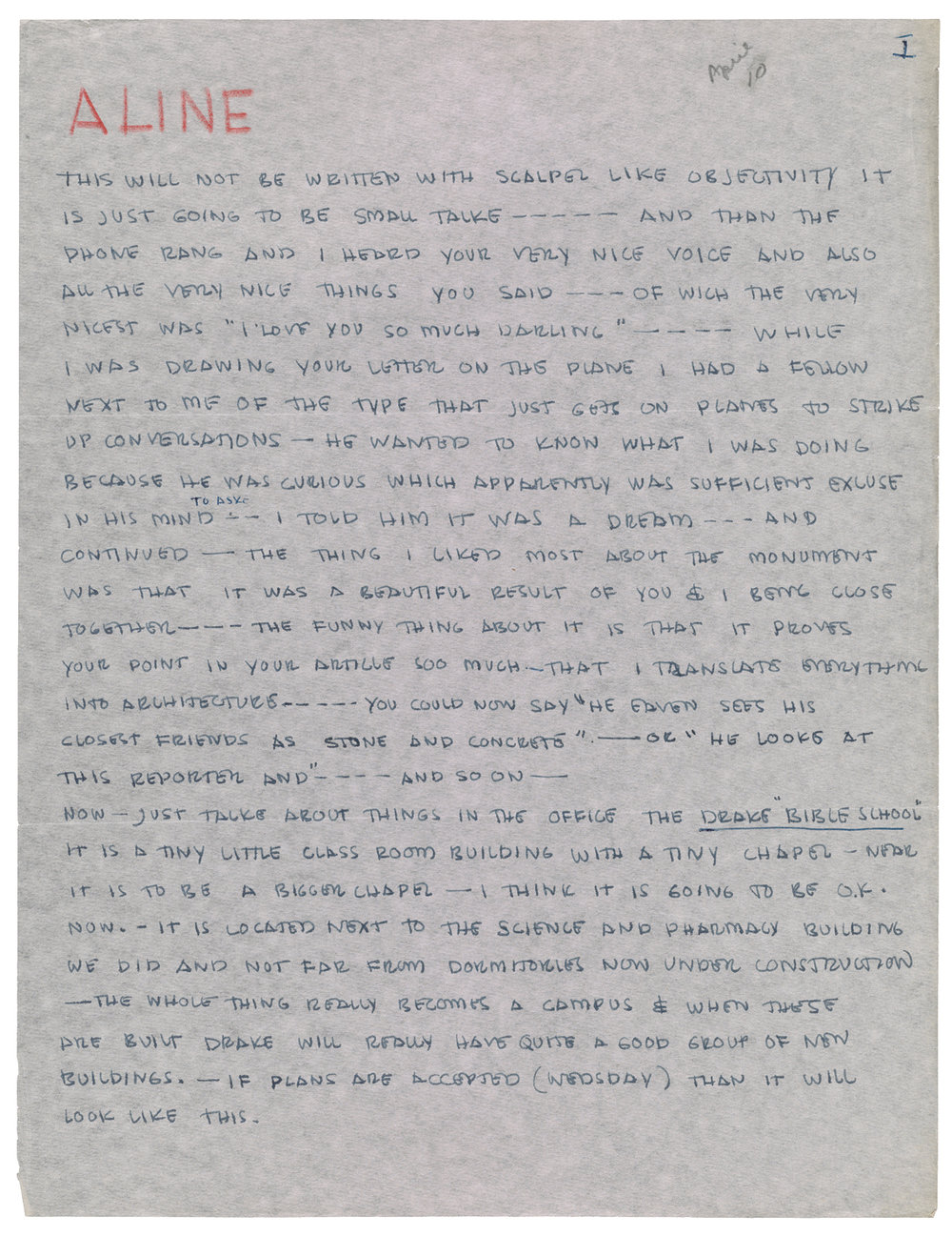 Eero Saarinen (124),  Letter to Aline Saarinen, April 10 – 11, 1953