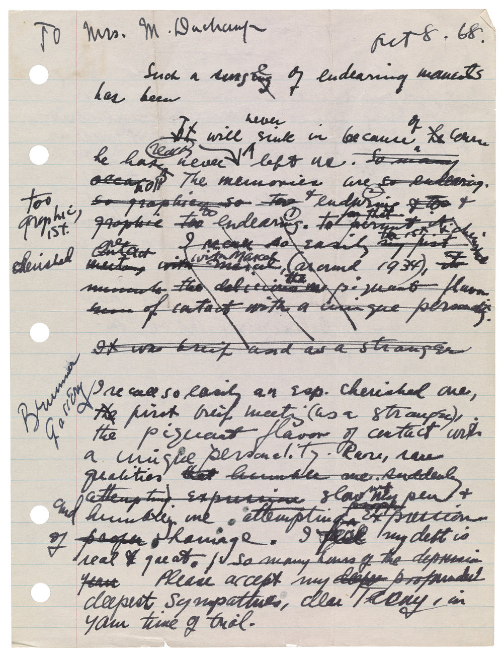Joseph Cornell (47), draft of letter to Teeny Duchamp, October 8-9, 1968