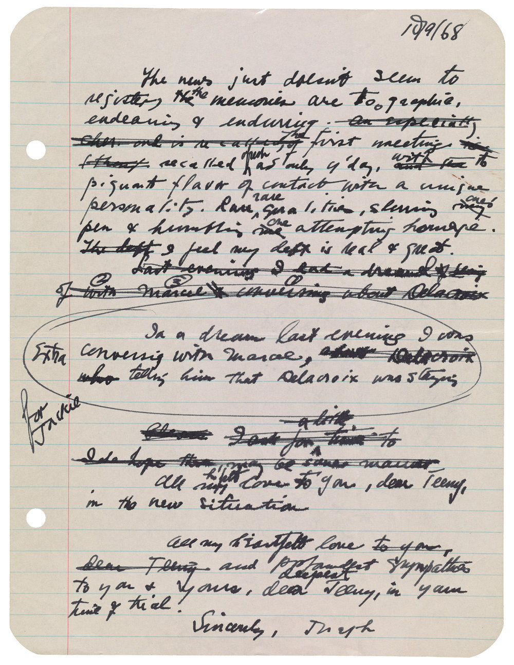 Joseph Cornell (48), draft of letter to Teeny Duchamp, October 8-9, 1968
