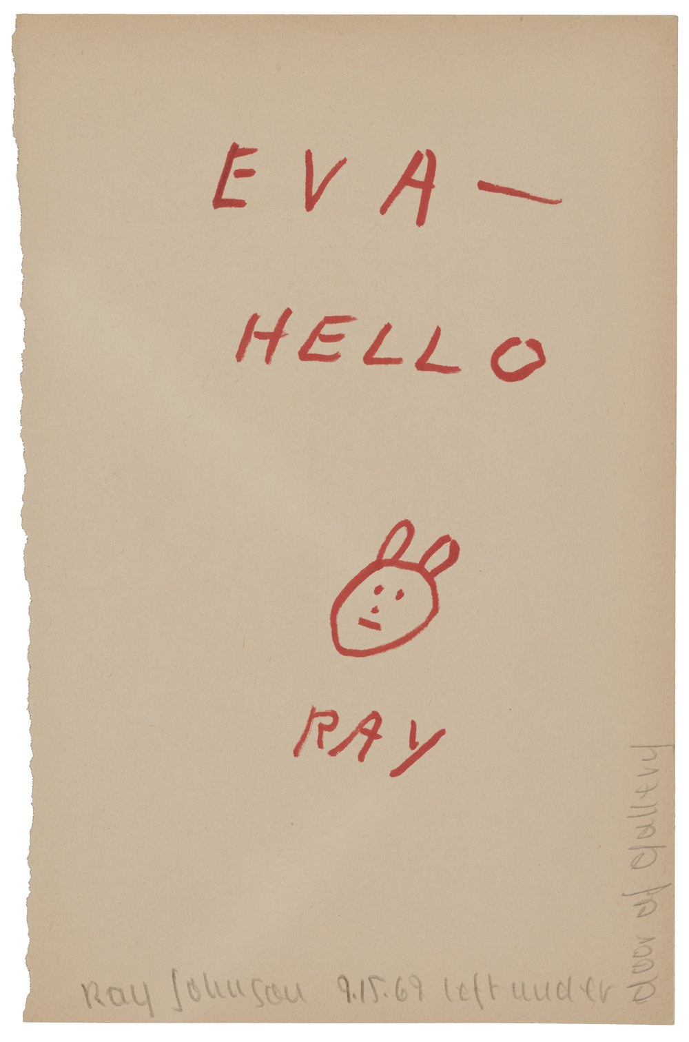 Ray Johnson (83),  letter to Eva Lee, September 15, 1969