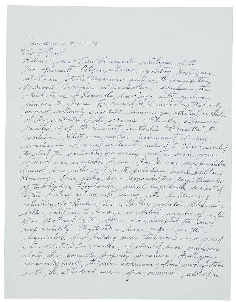 Dan Flavin (67), letter to Ellen H. Johnson, January 22, 1979