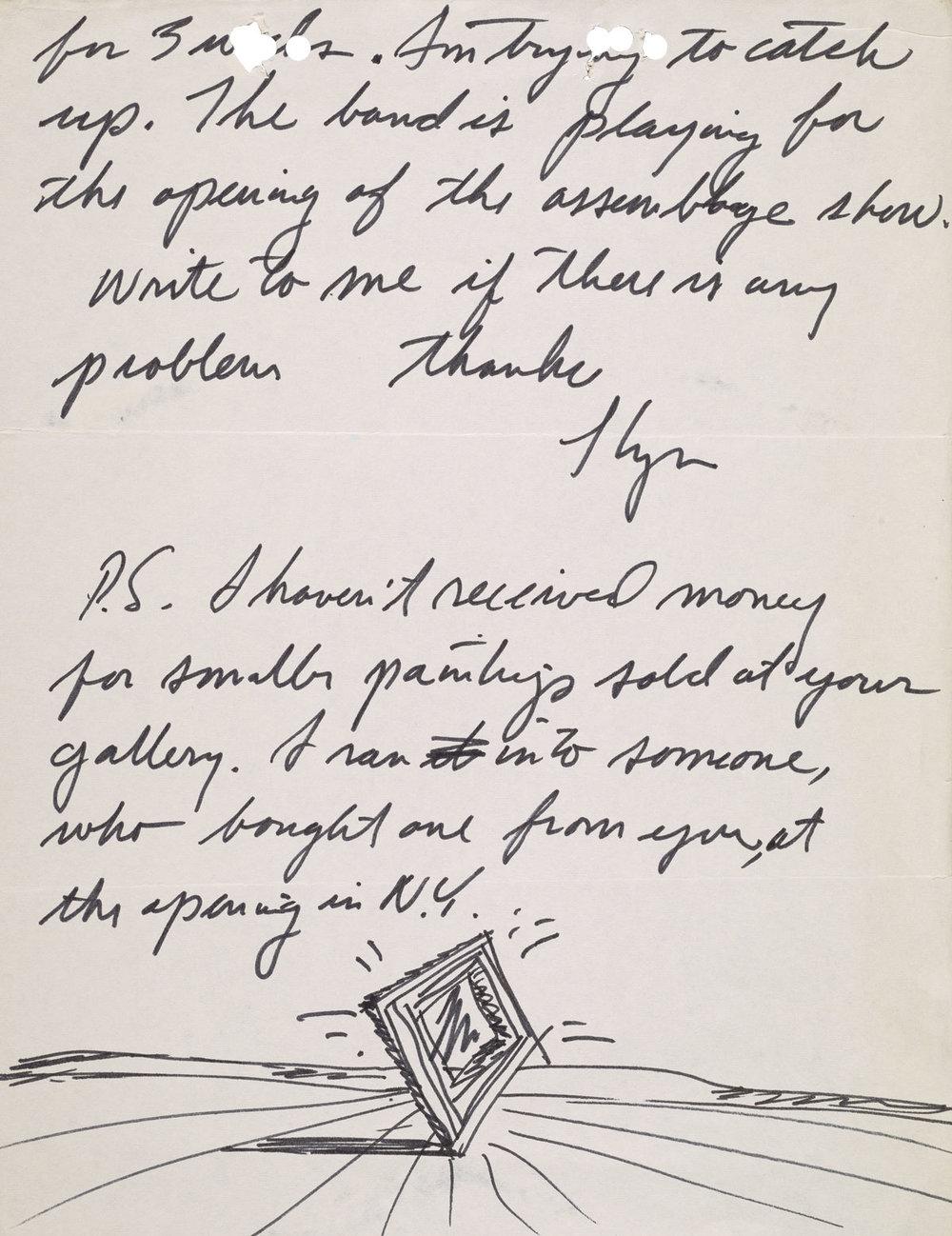 Llyn Foulkes (69),letter to Darthea Speyer, ca. 1975