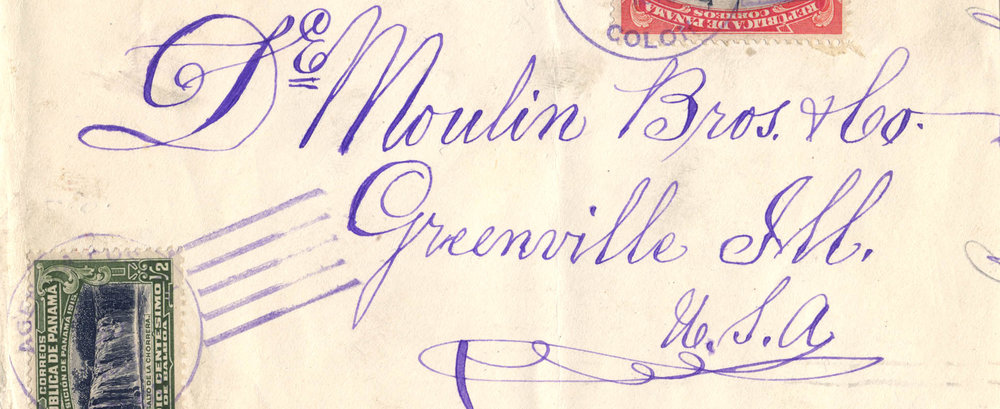 Envelope addressed to DeMoulin Bros. & Co, Greenville, Ill., USA, 1918