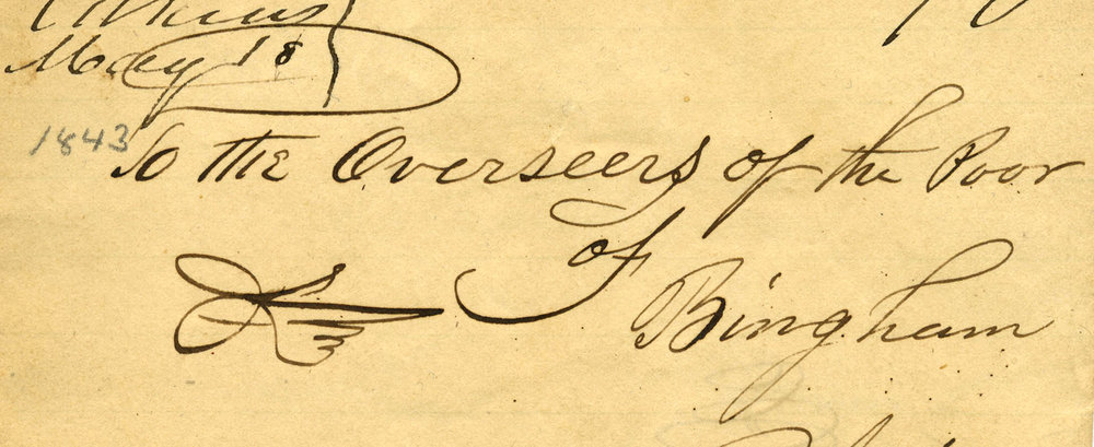To the Overseers of the Poor, Bingham, Maine, 1843