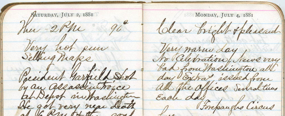 Diary of Civil War veteran C.E. Treadwell, 1881