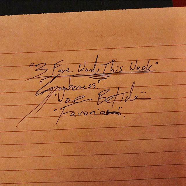 "Happy National Handwriting Day! Here are @grkovalenko's three favorite words of the week: somberness, ""woebetide"", favonian. We're celebrating by collecting submissions to post for a national handwriting day roundup next week! Please send us your scribbles or any response you have to what handwriting looks like to you — info@handwrittenwork.com . . . . #nationalhandwritingday2018 #handwrittenwork #amhandwriting #nationalhandwritingday"