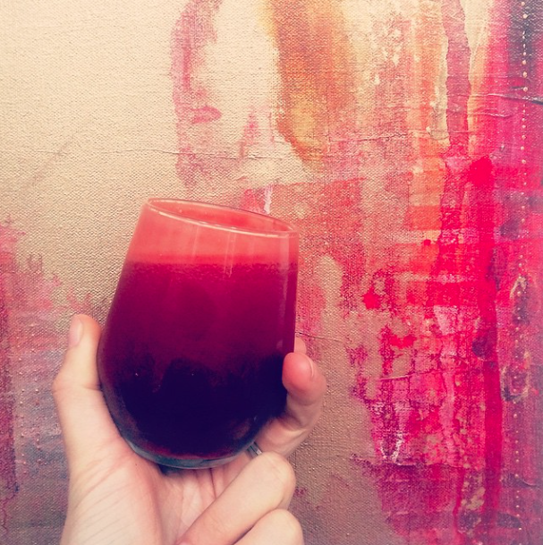 Orange, beet, turmeric, lemon, ginger magic recipe by yours truly + b eautiful artwork by Flora Bowley.