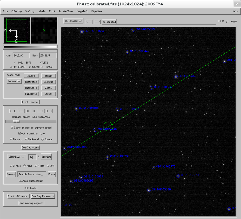 PhAst in use studying a recently-discovered asteroid.