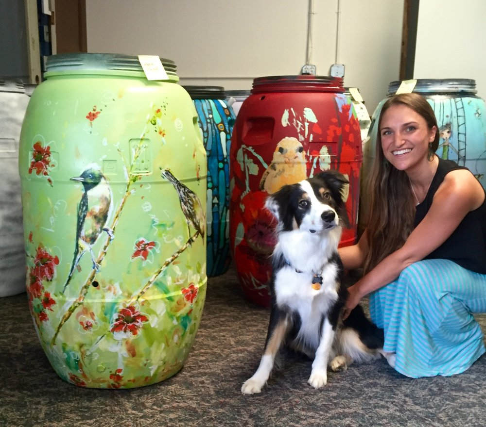 Here's my finished Rain Barrel - - I was greeted by Devon and the super, cute pup-in-charge, Kuma when dropping my barrel off at the Center for ReSource Conservation.