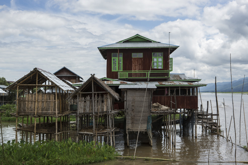 A typical stilt home on Inle Lake.