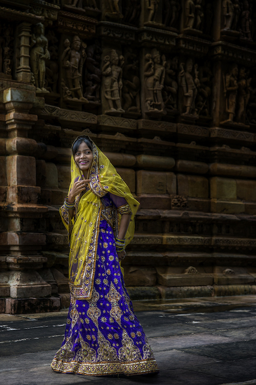 A young bride to be visited Kama Sutra Temple to pray for a successful future of marriage.