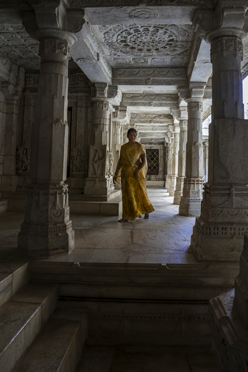 A Hindu lady visits the Jain temple in the forest outside Johdpur.