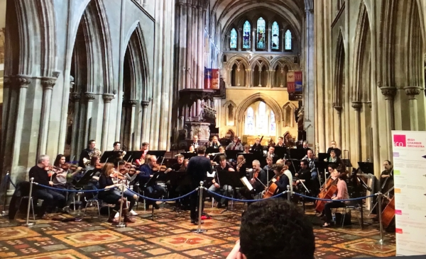 HIGHLIGHT of the day. Orchestra rehearsing for a concert at St. Patricks' Cathedral.