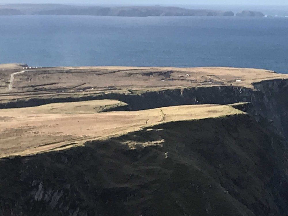 Hiked on BenWee Head today. Sun shining, amazing views. Artist friend, Jeff is the tiny black mark on the edge- in middle of image.