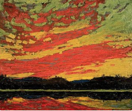 Tom Thompson,  Alqonquin Sunset,  oil on panel, 1917