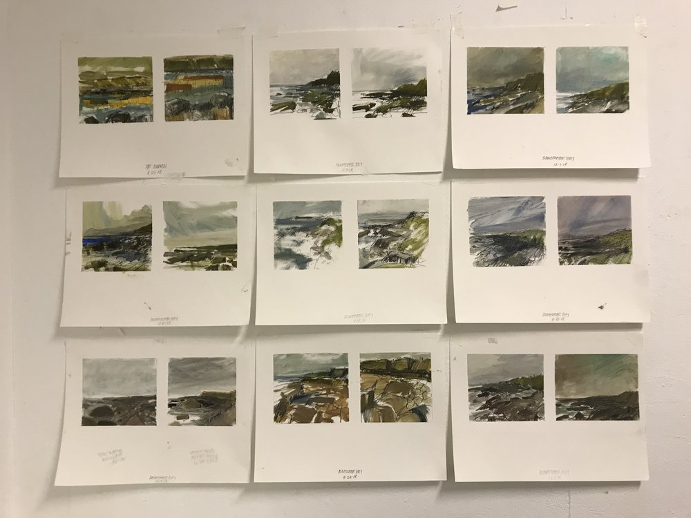 The following selection of works were completed during my residency at Ballinglen Art Foundation in 2018. Oil sketches on paper, 6 x 6 inches, graphic drawings on paper, 9 x 12 or 12 x 16 inches.