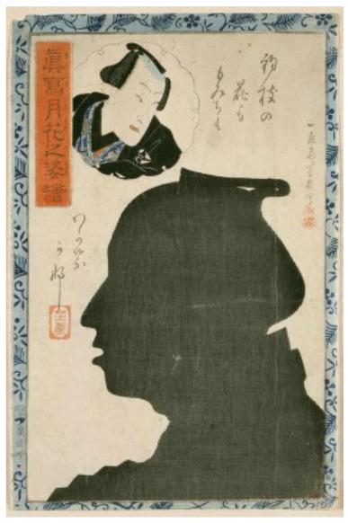 Silhouette of kabuki actor Ganhachi, ca. 1867