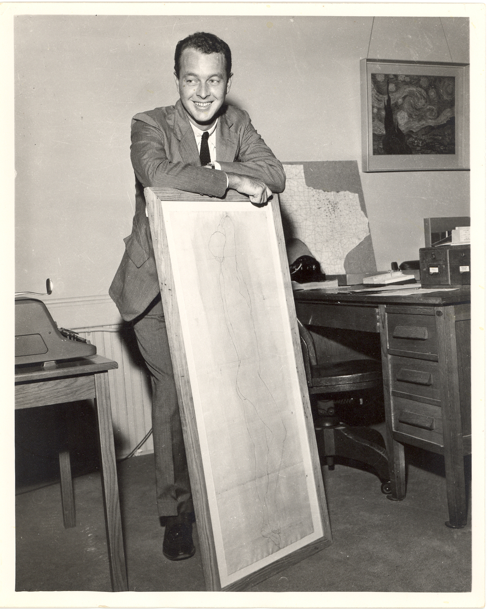 Reilly Nail with an early purchase that began his art collection, ca 1950s