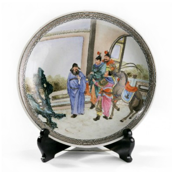 Large plate with a tributary scene, early 20th century