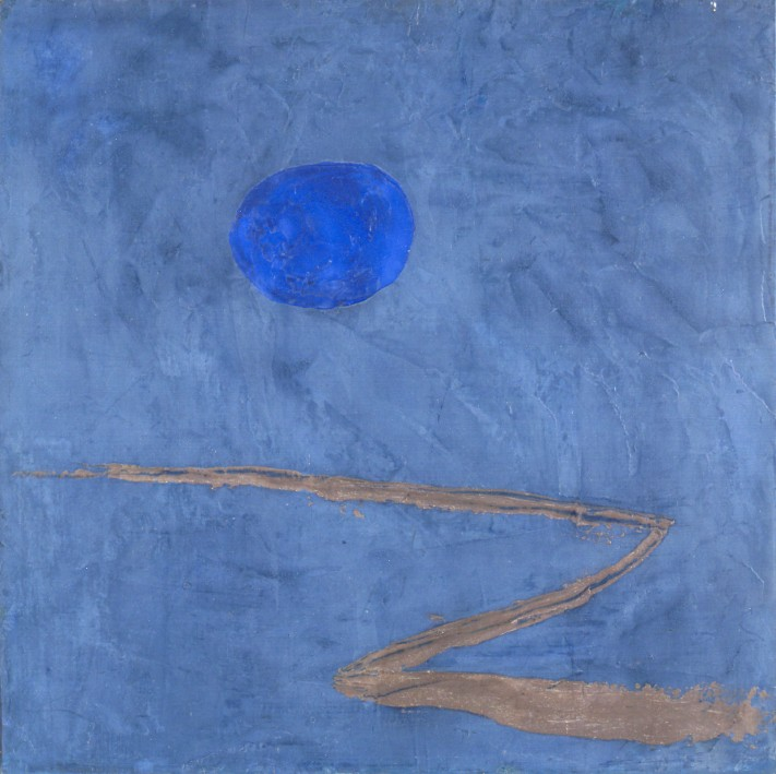 PAUL KLEE    Der Weg ins Blaue (The Path into the Blue) , 1934  Encaustic on canvas mounted on board  Gift of Bill Bomar, 1991.002.