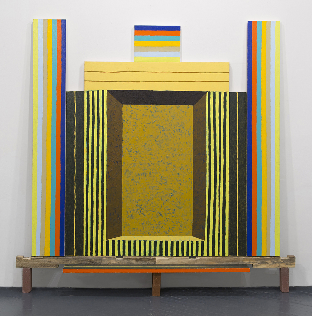 MATT KLEBERG,  The Get-Down,  2015 ,  oil stick on canvas on seven panels, lumber and bricks, 83.5 x 85 x 10 in. Courtesy of the artist and Hiram Butler Gallery.