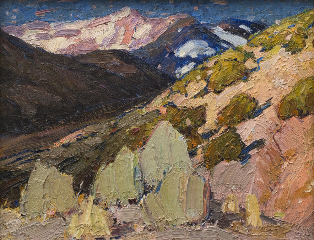 Image credit: RALPH MEYERS,  Early Spring, N.M. , 1922, oil on board, 9 7/8 x 12 5/8 in. Tia Collection.
