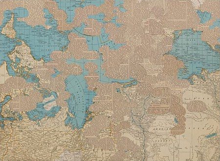 Matthew Cusick,  Exegesis , 2010  Inlaid maps and text on panel, 18 x 24 in.  Image courtesy the artist