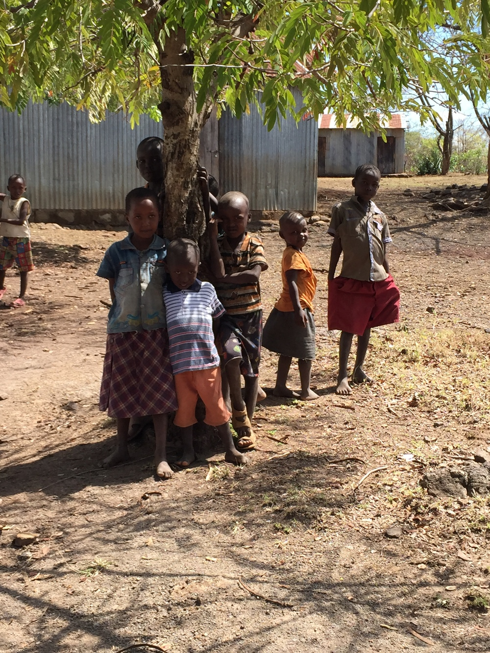 A group of children at the outreach site.