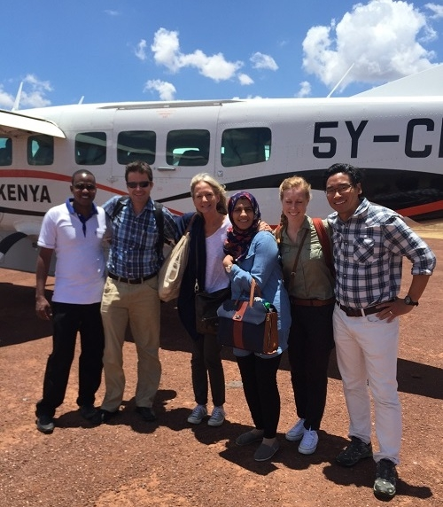 (Left to right) Ezekiel, the head of the Lewa Clinic greets Dr. Michael Hawkes, Stacy Francis, Dr. Sidiqa Rajani, Alex Friel and Dr. James Aw.