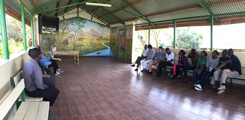 Registered Dietitian Alex Friel speaks to clinic staff at Lewa Downs.
