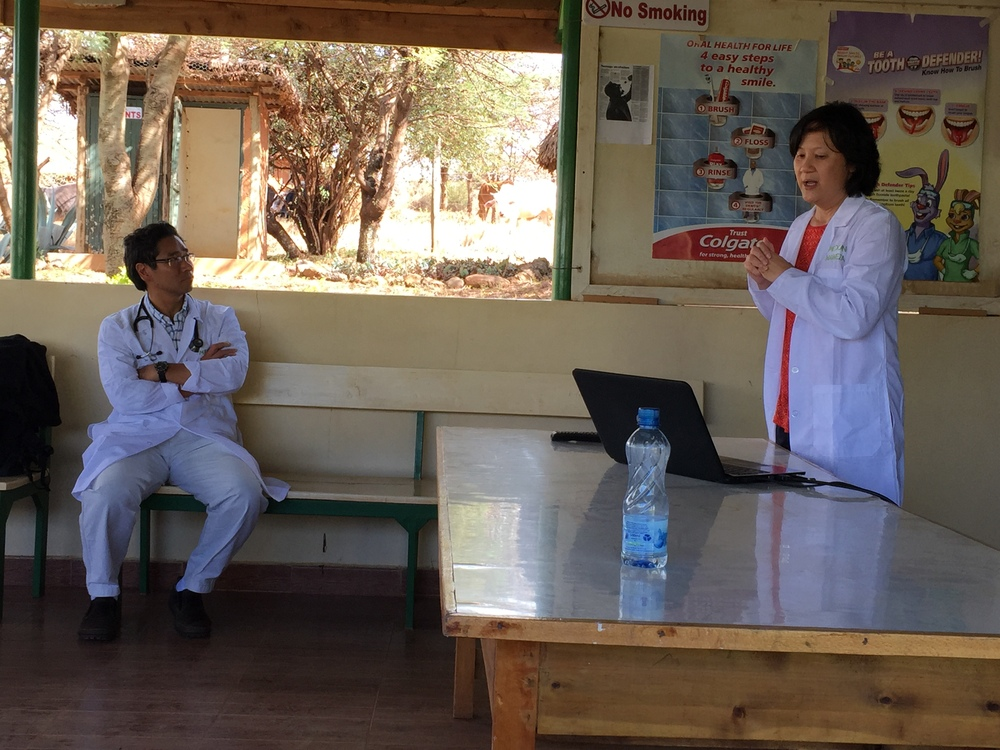 Dr. Sue leading a talk on Pelvic Inflammatory Disease, one of the topics requested by the Lewa staff.