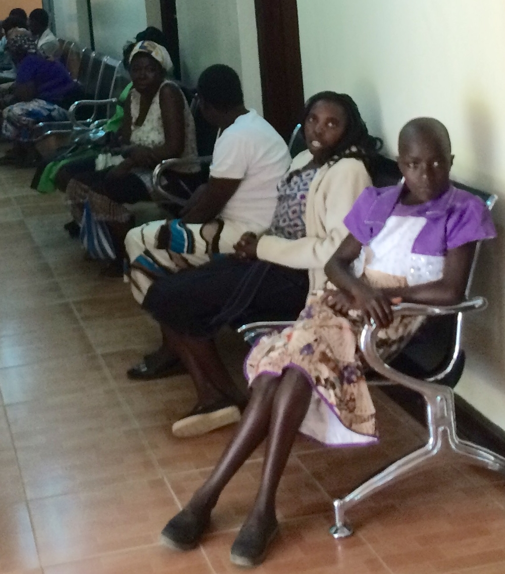 Women lined up for cervical cancer screening.