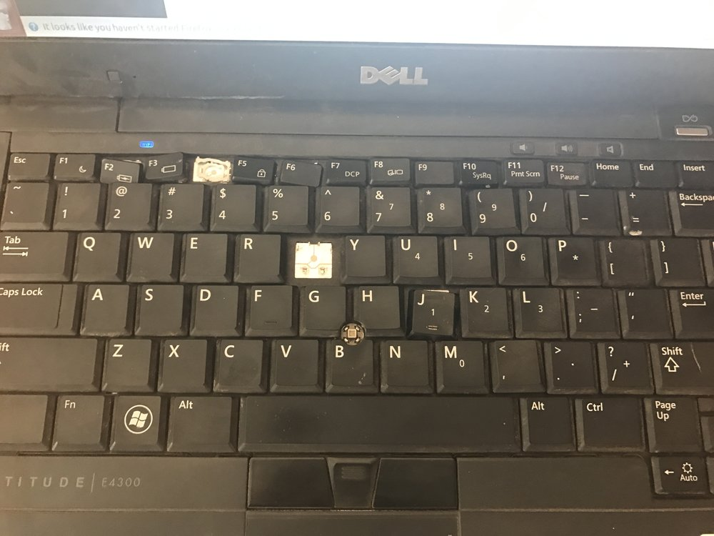 "Apparently a rooster decided to ""write"" an email by pecking on this keyboard and in doing so damaged the keys. The computer was provided by Naweza to help manage the Chronic Disease program."