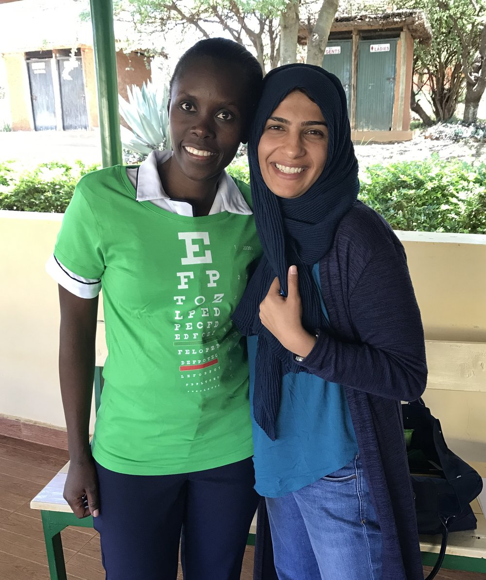 "Dr. Sidiqa and Lydia (wearing an ""eye chart"" t-shirt we gave to her)."