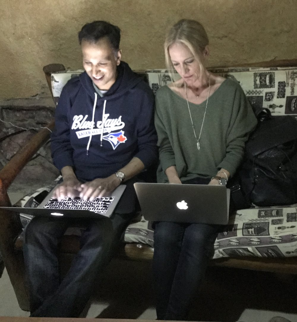 Dr. Rajiv and I working on our blogs together after dinner.