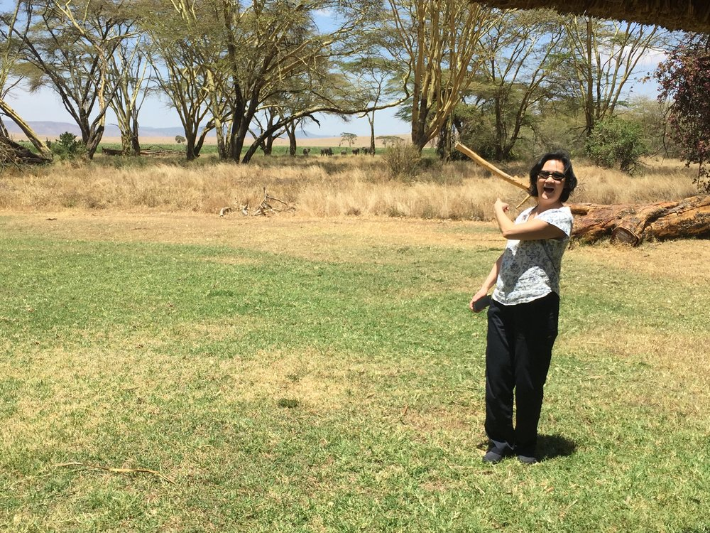 Dr. Sue pointing at the elephants in the background. Earlier Sue and Sidiqa joined me in my regular workout and this is our daily view