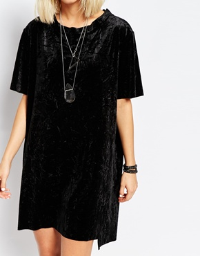 Crushed Velvet T-Shirt Dress - $109 CDN
