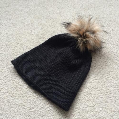 fur pompom beanie black knit dynamite