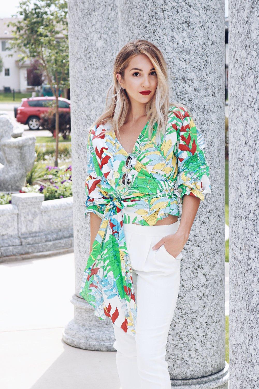 zara brittany lauren brittanylaurens saskatoon blogger fashion style canadian youtuber beauty summer floral poplin cohen pants aritzia quay australia blonde