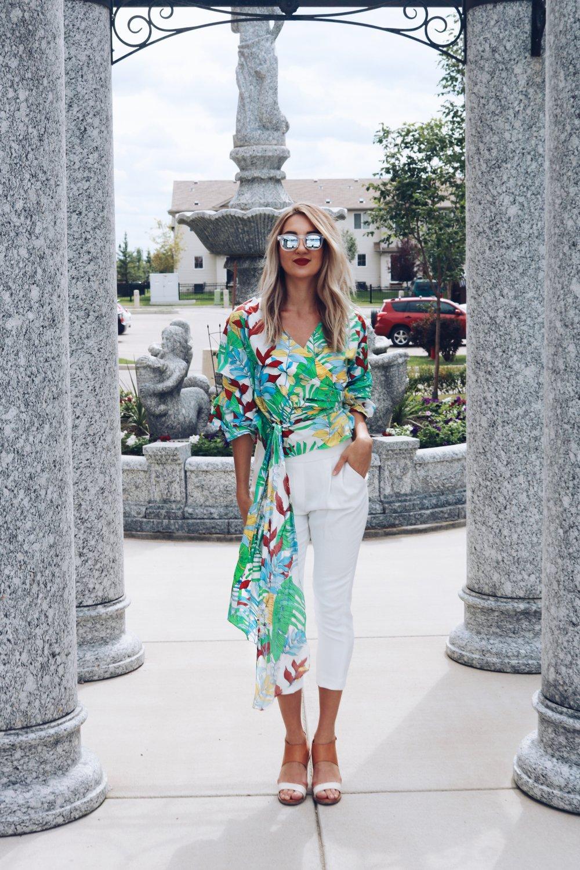 zara brittany lauren brittanylaurens saskatoon blogger fashion style canadian youtuber beauty summer floral poplin cohen pants aritzia quay australia blonde saskatoon saskatchewan