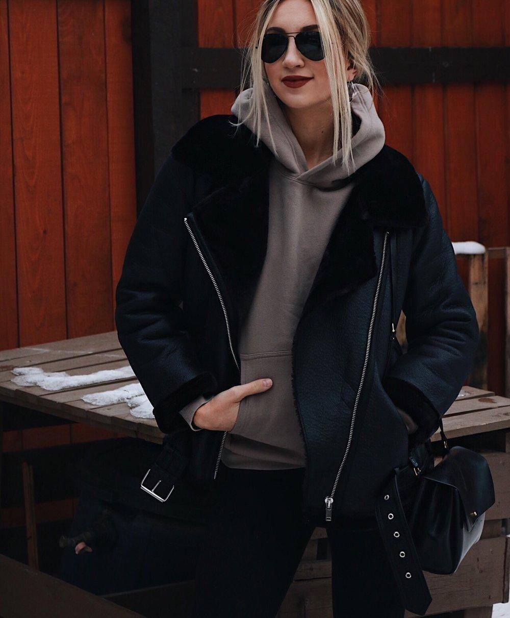 ootd aritzia zara lined jacket leather sock boots brittanylaurens brittany lauren saskatoon saskatchewan canadian blogger youtuber