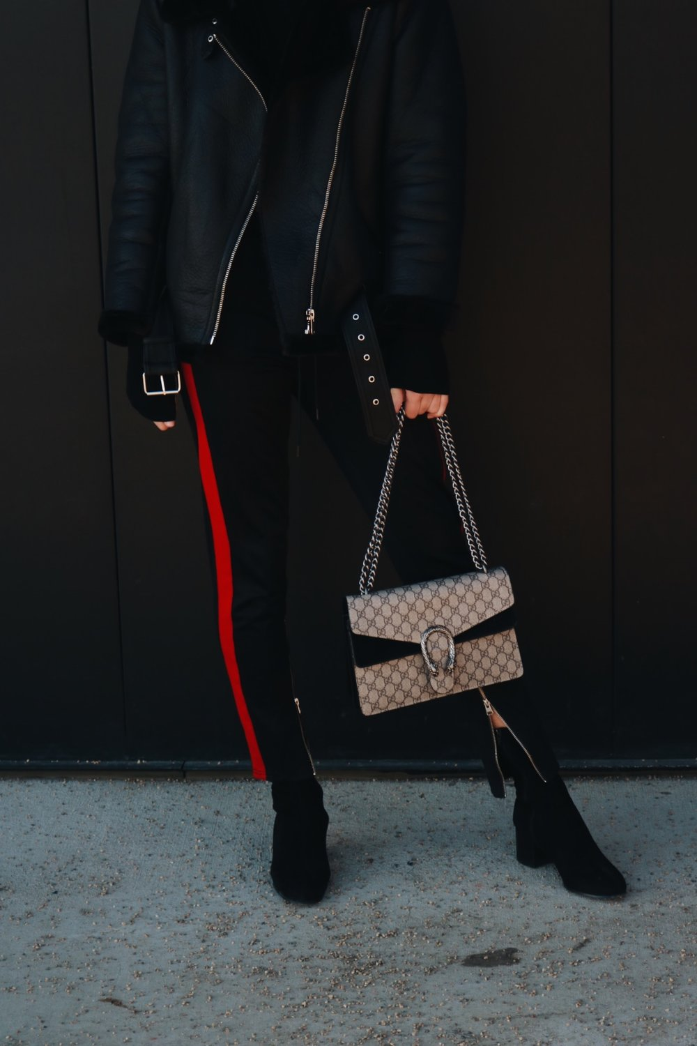 zara biker jacket leather street style rayban red stripe aritzia TNA steve madden sock boot gucci dionysus saskatoon saskatchewan blogger youtuber cute outfits canadian winter