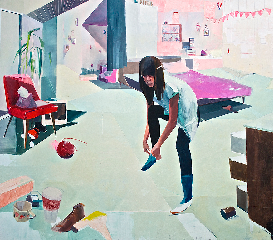 "Aimee's Room  2014  oil on panel  48"" x 52"""