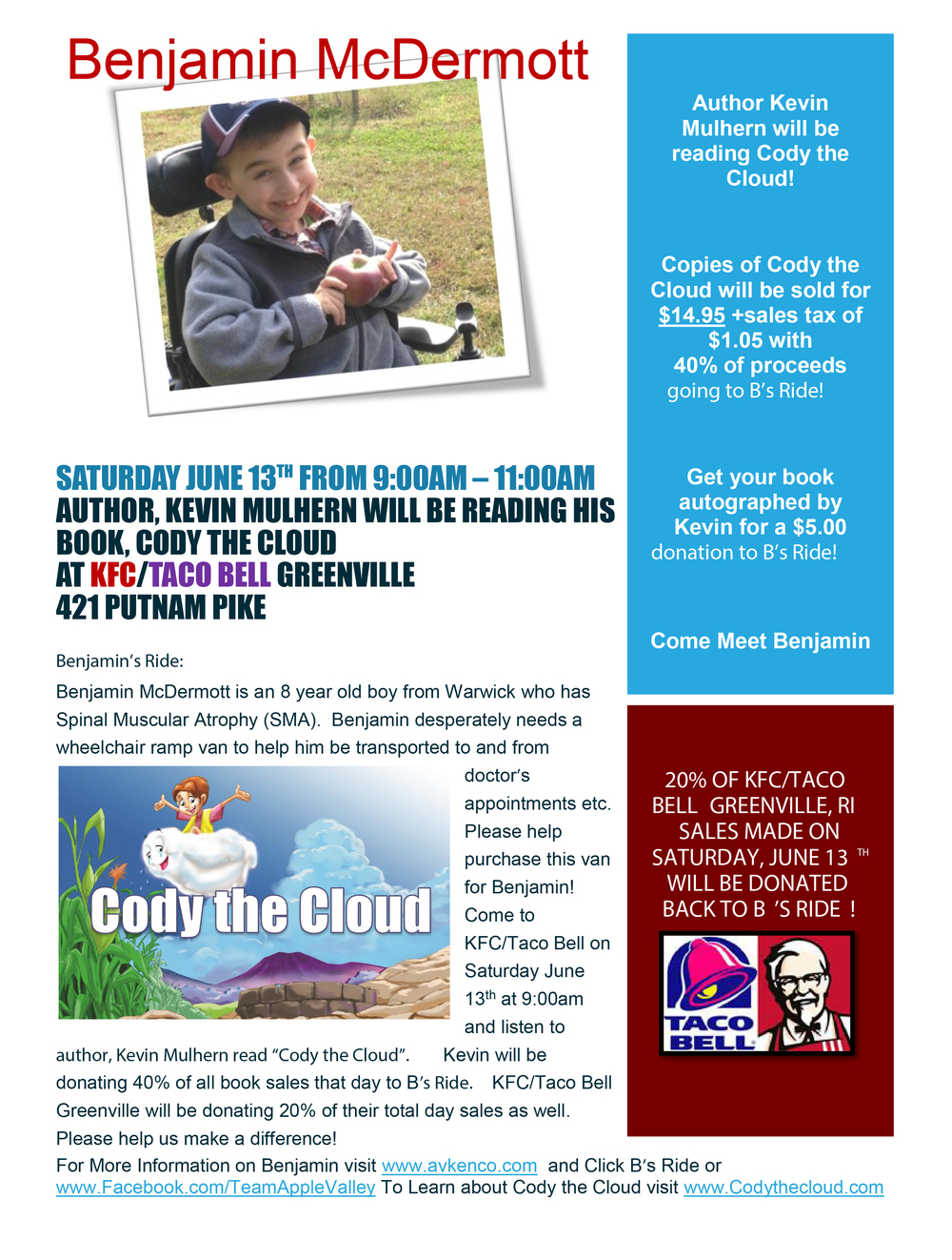 "Very excited about the ""Cody"" fundraising event, and VERY grateful to the Rianna family and KFC/Taco Bell for being so very kind with their time, space, support, and extremely generous charitable donation! Please come out and support B's Ride on Saturday, June 13th from 9-11 a.m. at KFC/Taco Bell in Greenville, RI! Benjamin will be there as well!"