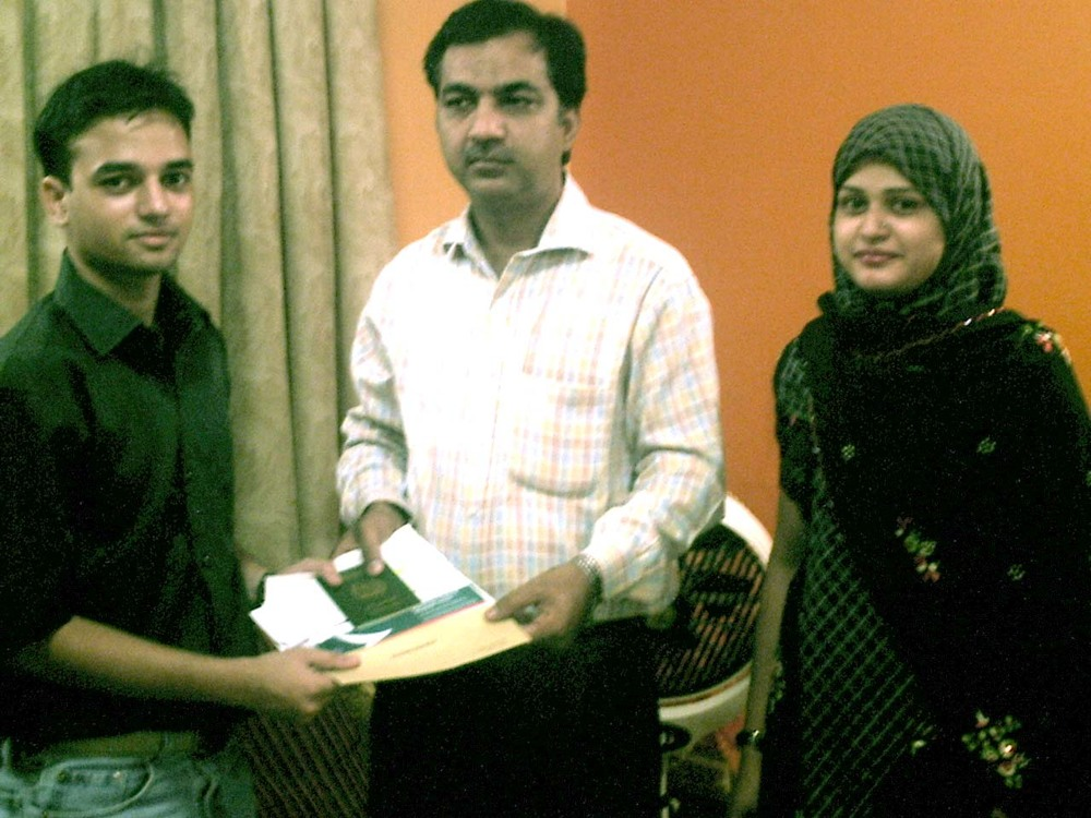 Right to left: Osama Khan (Scholarship Winner), Jamal Rajput (Koshish Member), Shagufta Nisar (Koshish Coordinator)