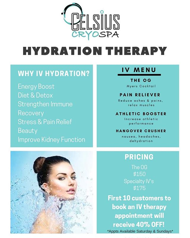 We are introducing IV therapy at Celsius Cryo Spa! Call us now to book. First 10 customers receive 40% off! . . #cryotherapy #cryospa #ivtherapy #hydration #hydrationtherapy #kellertx #dallastx #celsiuscryospa
