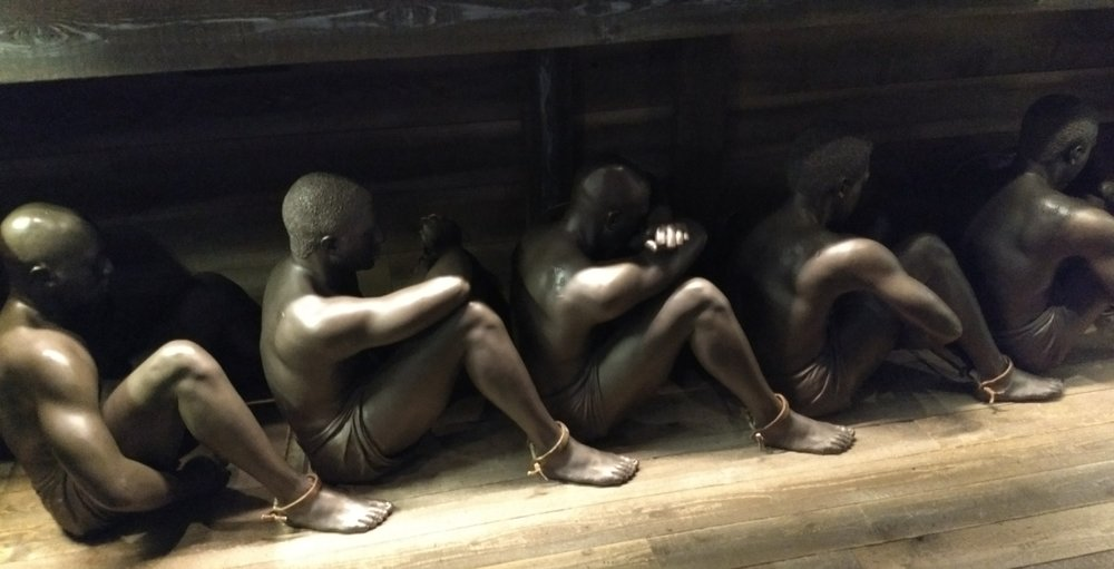 Slaves chained in a ship